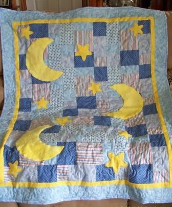 Moon And Stars Quilt Sun Moon And Stars Baby Boy Quilt