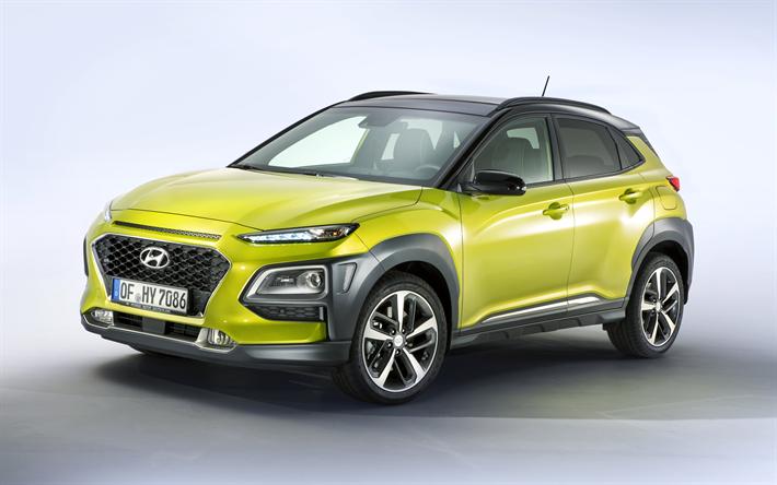 Download Wallpapers Hundai Kona 2017 4k New Cars Compact Crossover Yellow Kona South Korean Cars Hundai Besthqwallpapers Com Kona Hyundai Compact Crossover New Cars