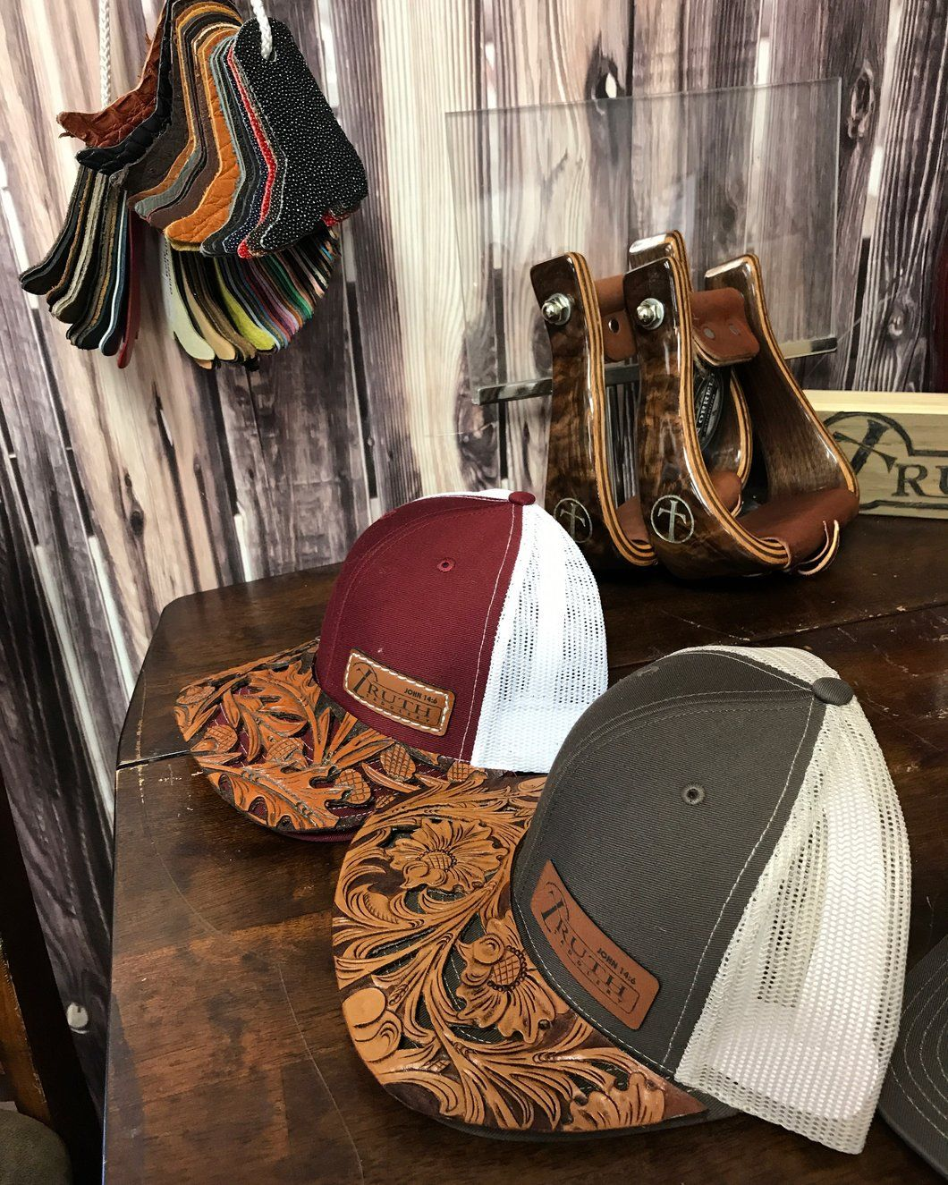 891517c0 CUSTOM HAND TOOLED Leather Cap BRIM — TRUTH SADDLERY PATCH CAPS - Snap back  One size