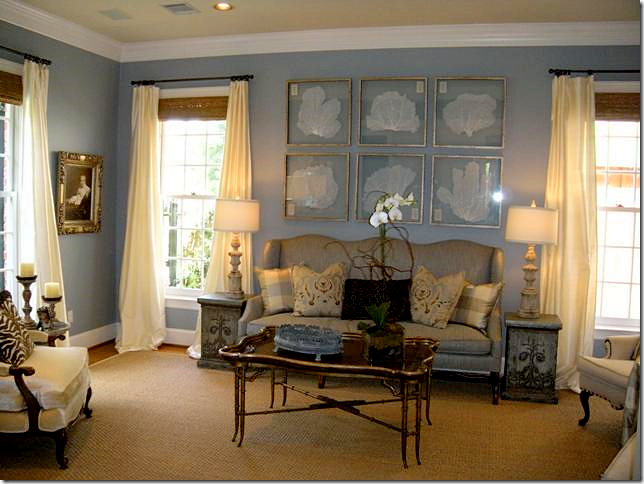Pale Blue Walls Creamy White Curtains White Trim Yellow Ceiling Home Decor Home Family Living Rooms #pale #yellow #walls #living #room