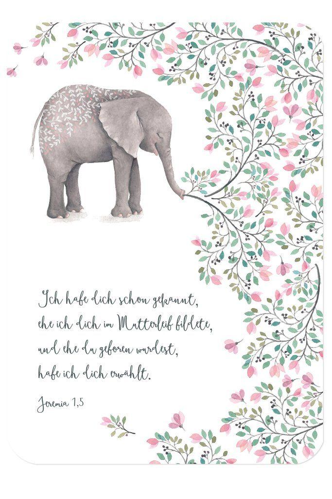 postkarte - zur geburt - elefant   christliche karten