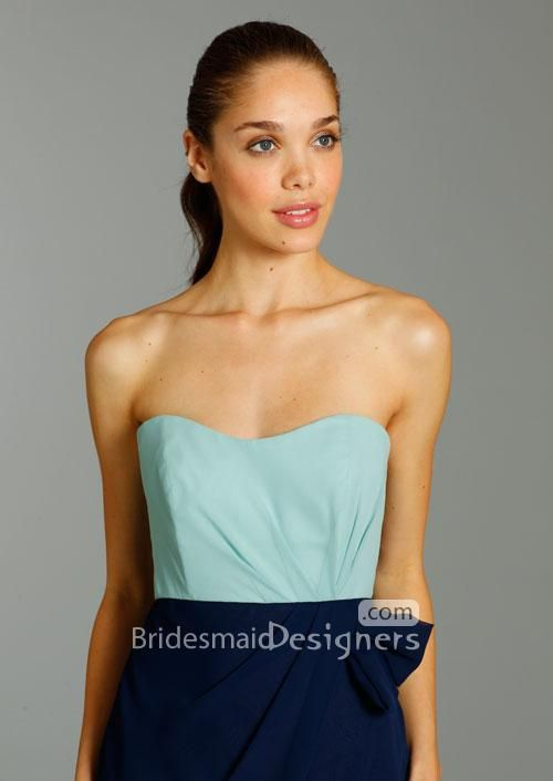 chiffon two toned slim sweetheart neck bridesmaid dress with tulip skirt