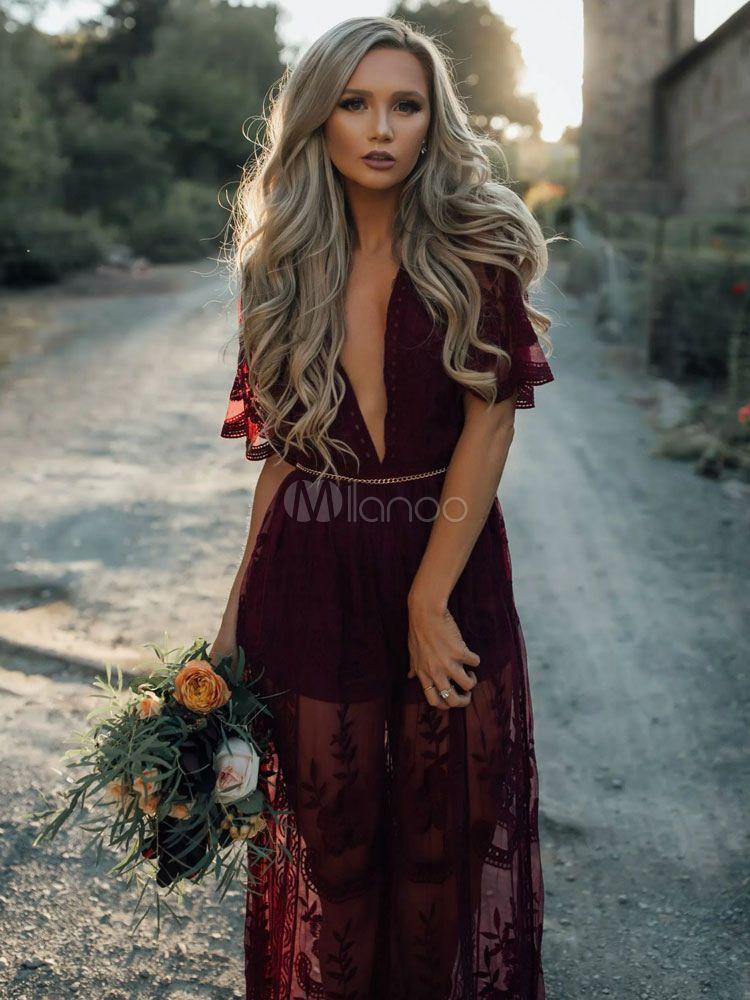 68a6fcd959a Lace Maxi Dress Women s Burgundy Chiffon Plunging Split Long Dress Sheer  Cover Ups - Milanoo.com