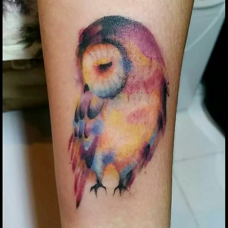 Owl watercolor tattoo. Love everything about it..wow