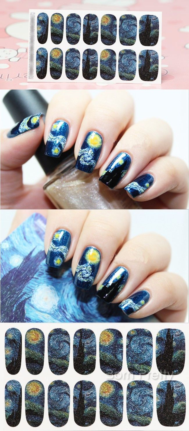 $2.00 1 Sheet Nail Wraps Mysterious Starry Sky Night Patterned Full ...
