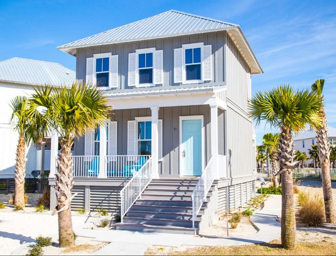 Coastal Color Front Doors Grey Beach House Exterior