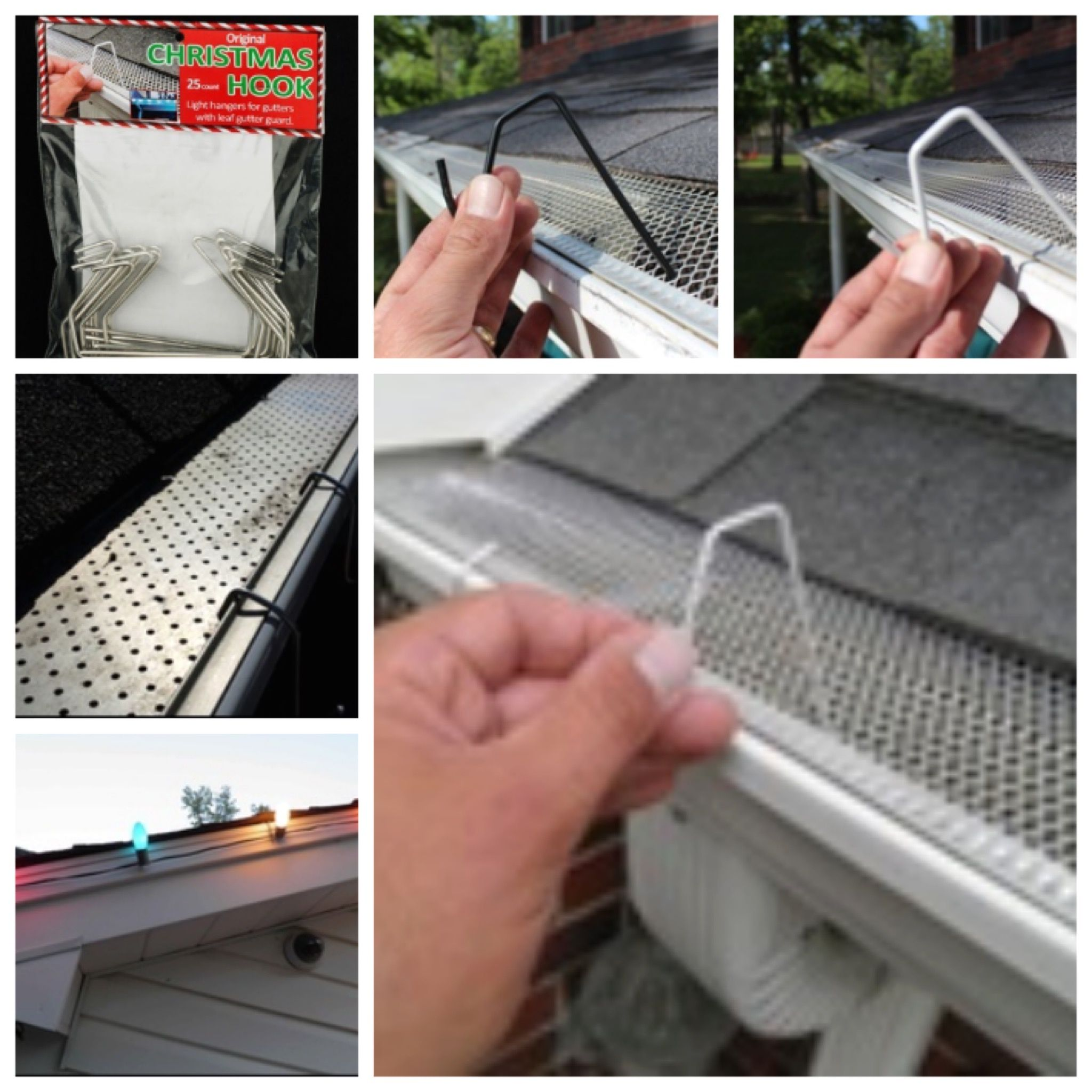 Christmas Hook Is A Christmas Light Hanger For Gutters With Mesh Or Perforated Gutter Guard Find It Christmas Light Clips Christmas Light Hanger Gutter Guard