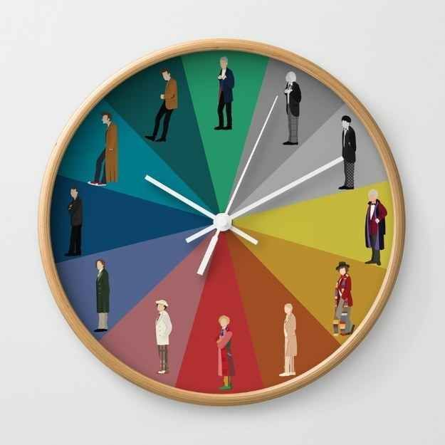 Doctor Who Products Only A Real Fan Will Appreciate This colorful wall clock with the 12 most important people on it.This colorful wall clock with the 12 most important people on it.