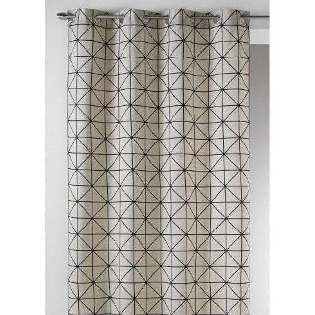 Rideau En Toile De Coton Aux Imprimes Design Home Maison Rideau Noir Et Blanc Rideaux Rideaux Geometriques