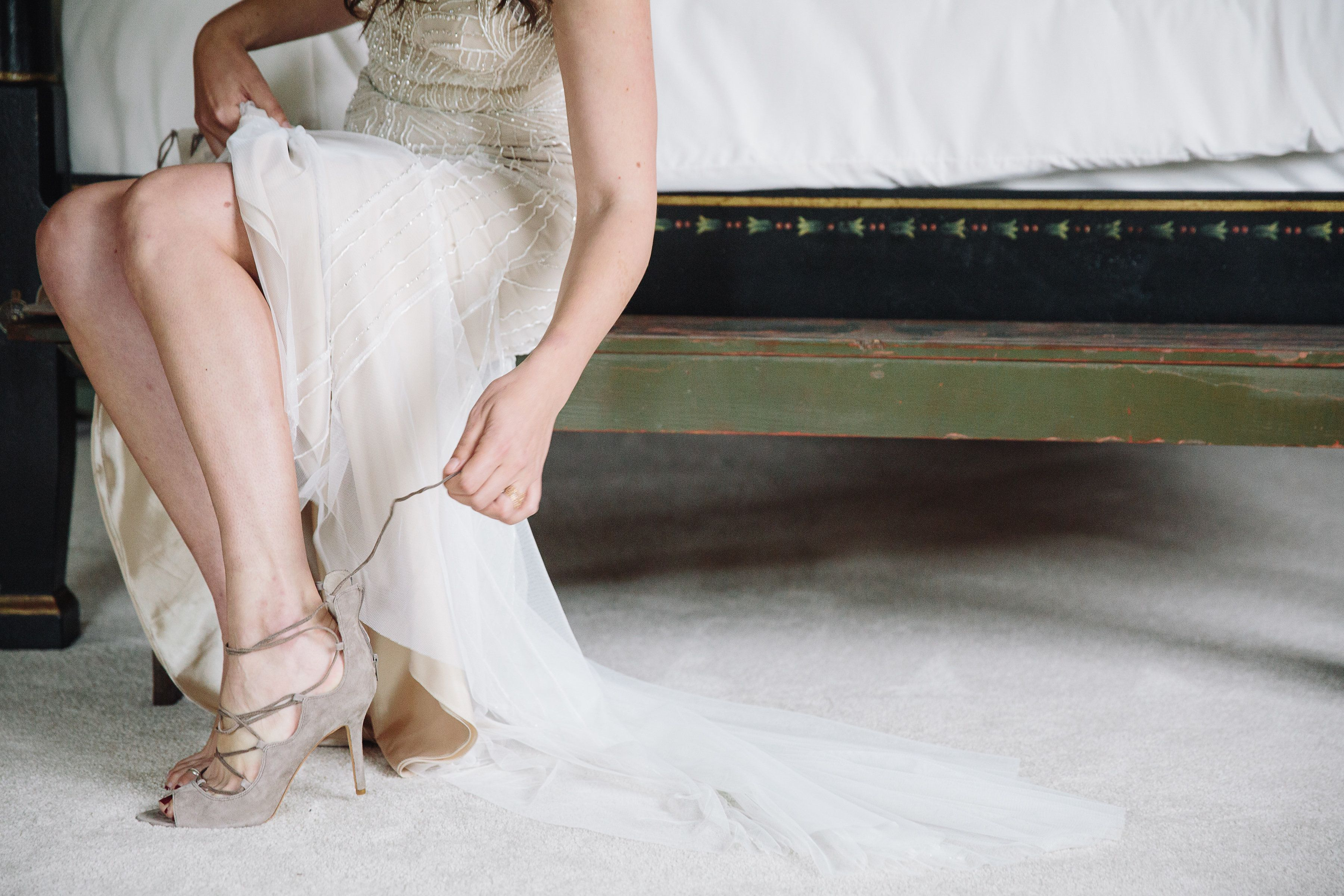 Taupe Wedding Shoes Go With Everything Even After Your Wedding Day And Who Doesn T Love A Lace Up S Taupe Wedding Mixed Metals Wedding Sheath Wedding Dress