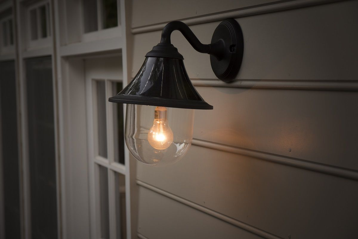 enhance your outdoor landscaping with a modern industrial feel with the orion solar wall light no electrical wiring is required for installation shop now  [ 1200 x 800 Pixel ]