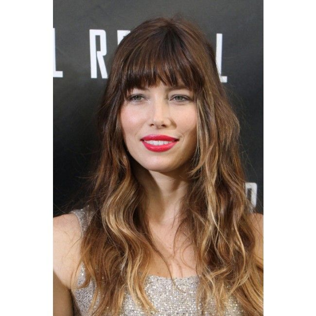 Jessica Biel Long Wavy Hairstyles With Bangs Ombre 100 Human Hair Capless Wig 16 Inches BCDW0224