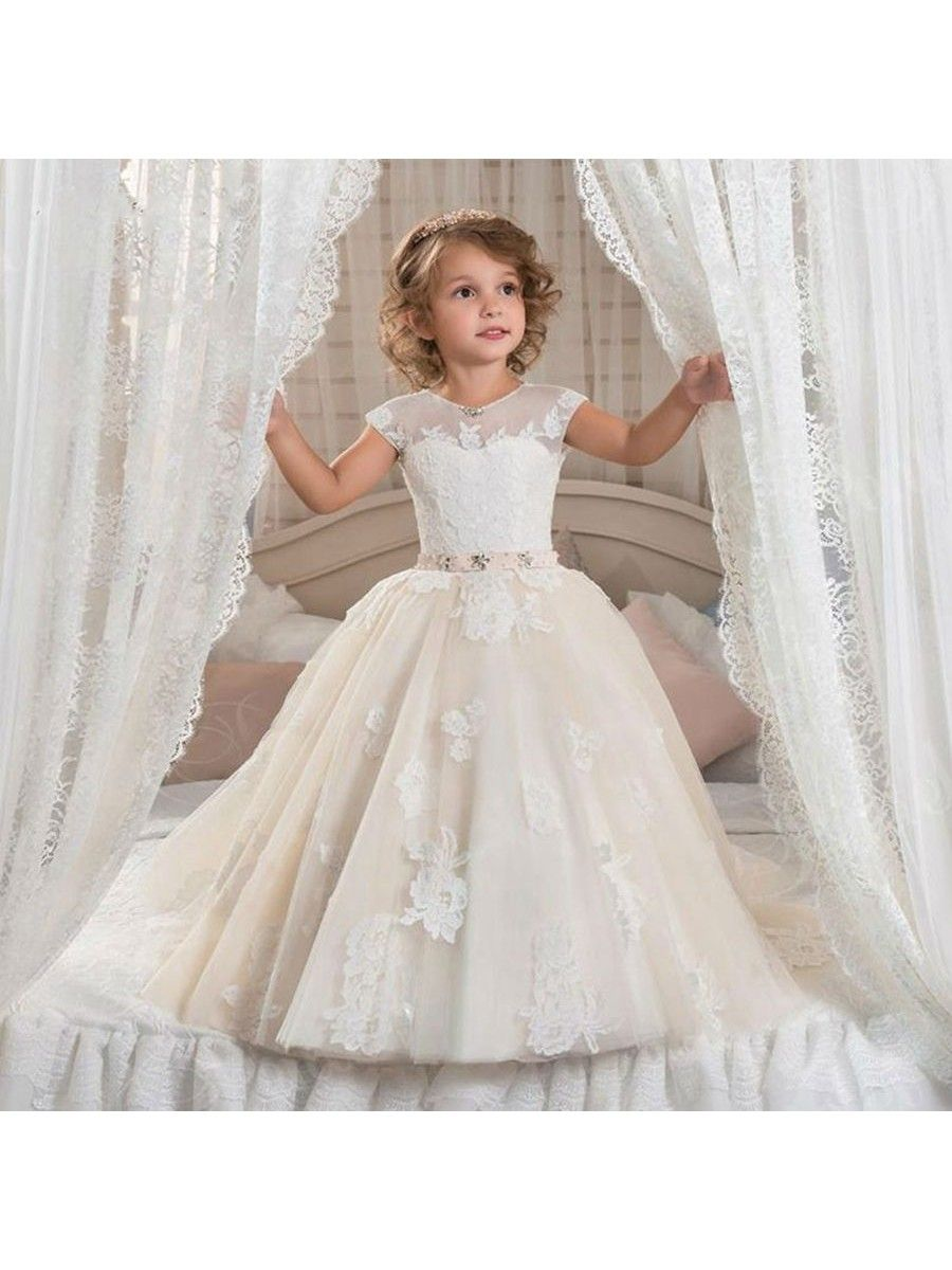 Cap Sleeves Lace Appliques Princess Ball Gown Flower Girl Dresses ...