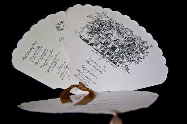 Custom wedding program in shape of a fan.