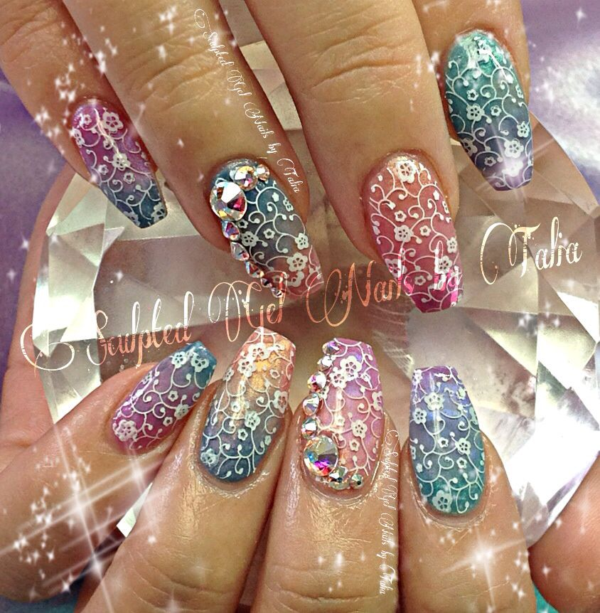 Ombré spring nail art