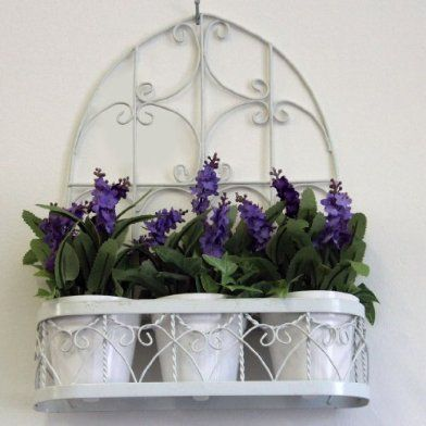 Vintage 3 Lavender Pot Hanging Basket 33 Cm Artificial