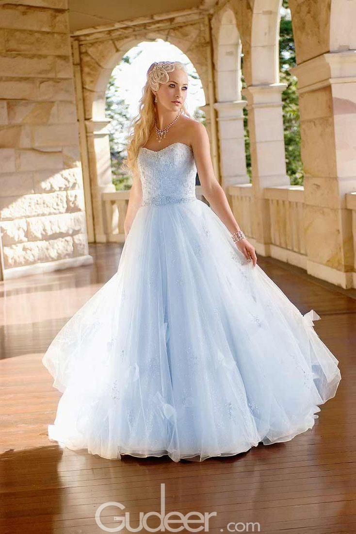 Blue colored strapless sweetheart beaded puffy tulle wedding dress