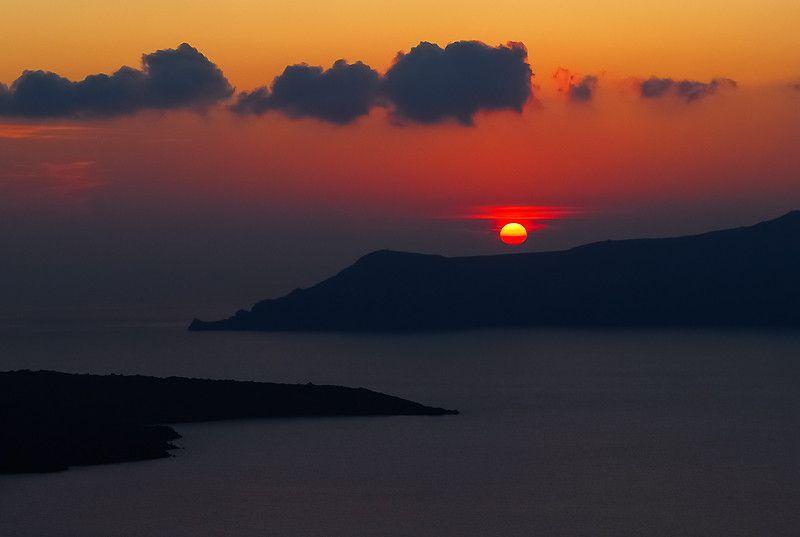 Sunset over Santorini Caldera
