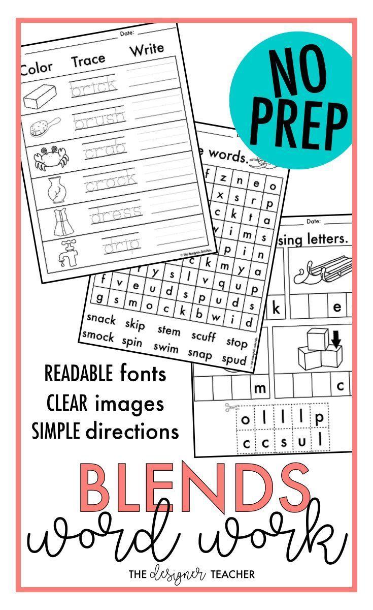 worksheet Consonant Trigraphs Worksheets no prep phonics worksheets consonant blends word work bundle bundle