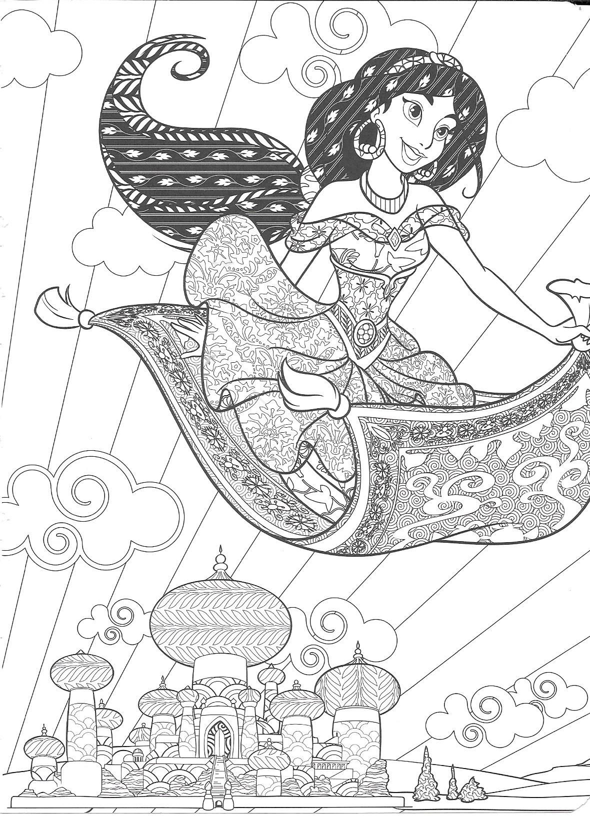 Jasmine Colouring Page  Disney princess coloring pages, Disney