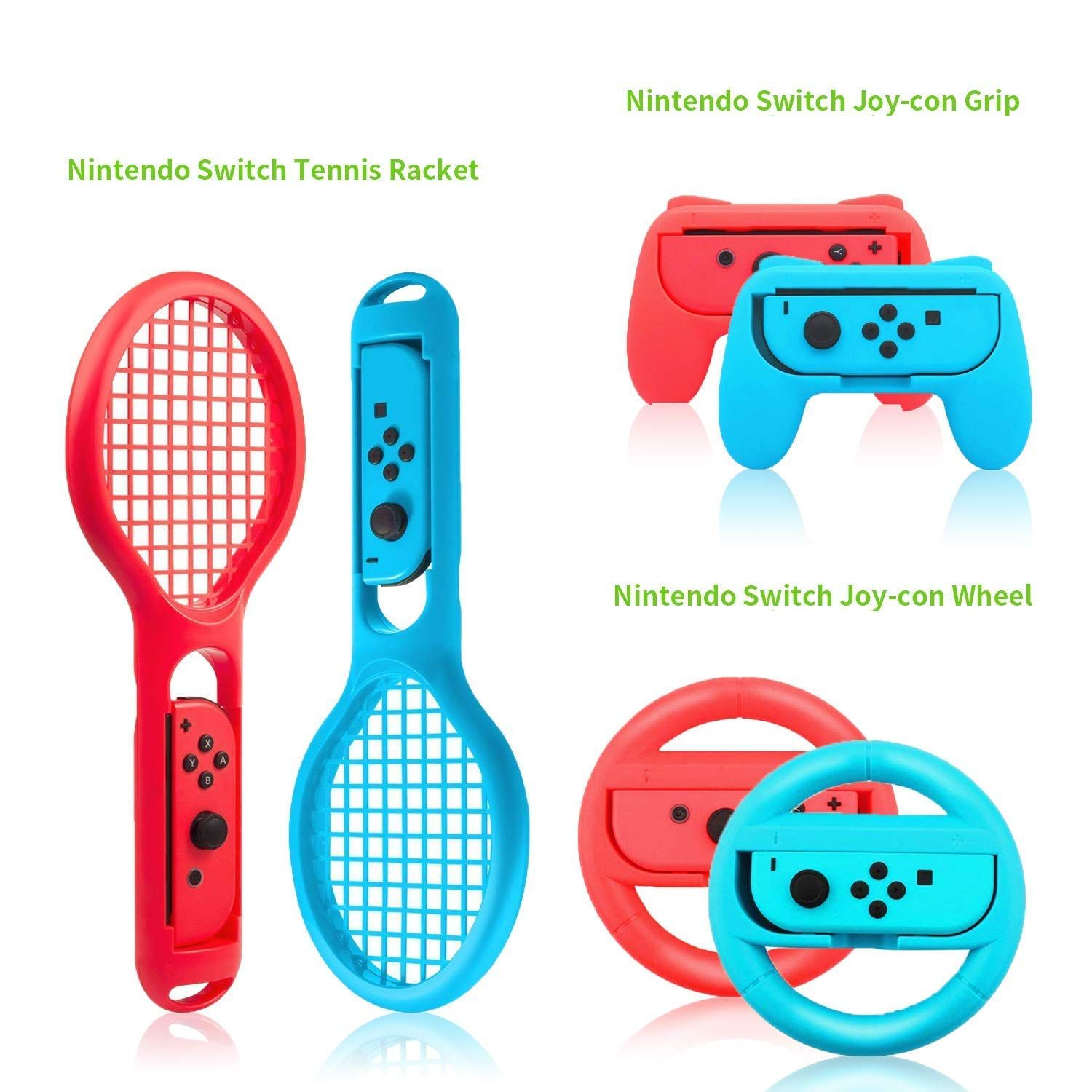 Zadii Accessories Bundle Compatible With Nintendo Switch Accessories Kit With Tennis Racket Steering Wheel Joy Nintendo Switch Charging Dock Accessory Kits