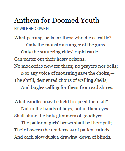Analysi Of Poem Anthem For Doomed Youth By Wilfred Owen Poetry Words Essay