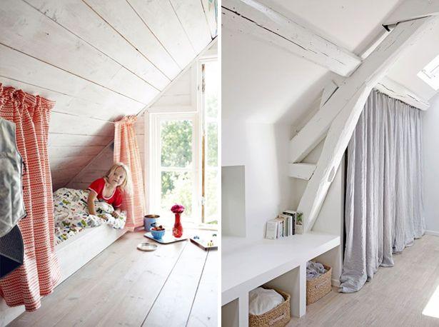attic ideas, curtains attic, zolder inspiratie, gordijnen op zolder, kinderkamer op zolder
