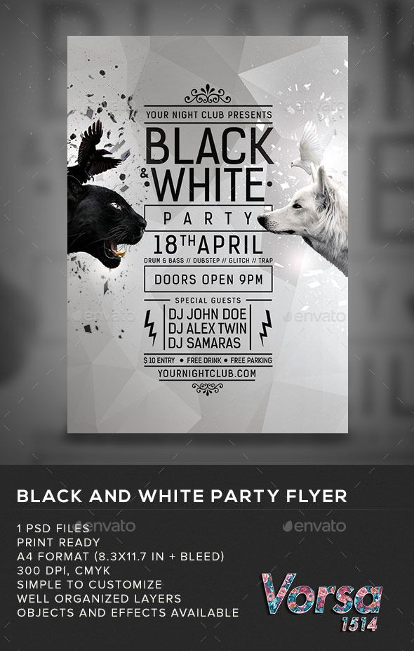 Black White Party Flyer My Posters Pinterest Black White - Black and white flyer template free
