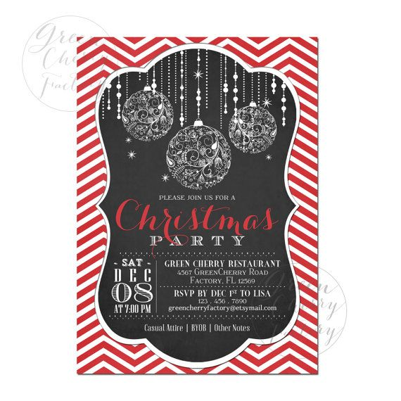 Christmas Party Invite Ideas Part - 28: Ward Christmas Party Invite Idea.Printable Christmas Party Invitation -  Chalkboard Frame - Red Chevron