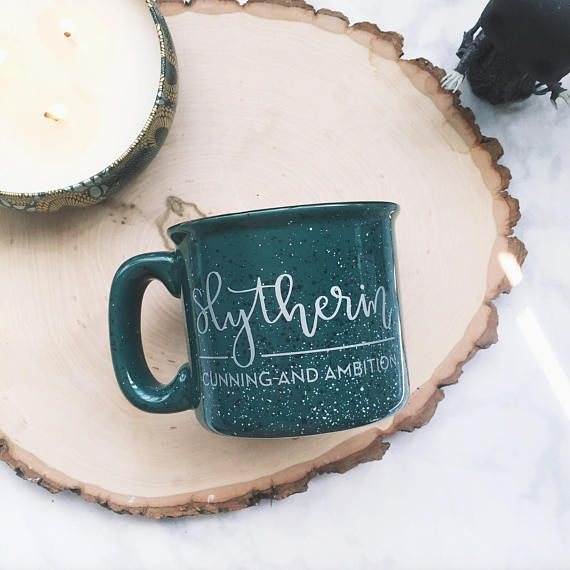 DETAILS: _______________________________________ + Holds 15 oz. + Heavy duty green speckled ceramic camp mug + The wording on this mug is hand-lettered/handwritten and cut from silver permanent outdoor vinyl and adhered to the surface. CARE INSTRUCTIONS: