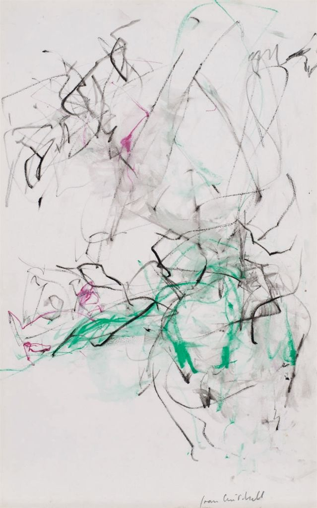Joan Mitchell (American, 1926-1992), Untitled. Oil crayon, pastel and watercolor on paper, 36 x 22.5 cm.