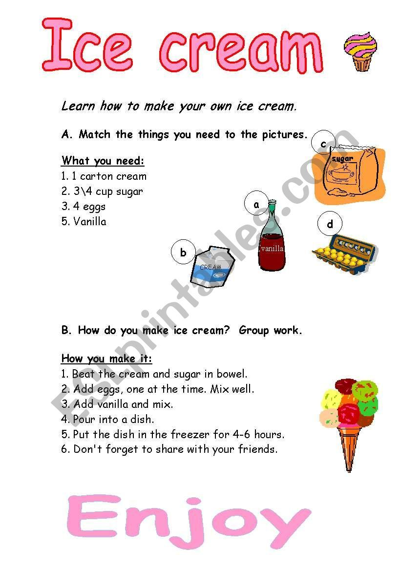 Learn How To Make Your Own Ice Cream Vocabulary Worksheets English Lessons For Kids Esl Lesson Plans [ 1169 x 821 Pixel ]