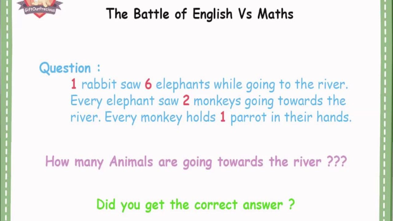 Simple #math trick question - www.GiftOurPrecious.com 1 rabbit saw 6 ...