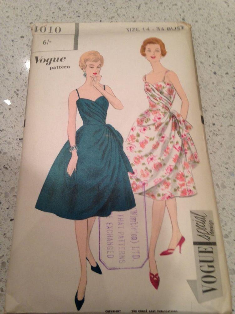 Vintage Vogue Sewing Pattern 4010 Size 14 Bust 34 | Draped Dresses ...