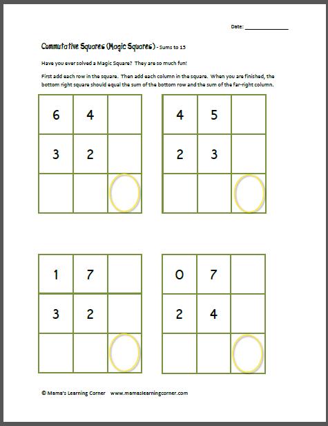 Commutative Squares Magic Squares Sums To 15 Magic Squares Commutative Magic Squares Math