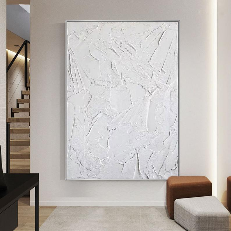 Large Abstract Painting Wall Art Decor Original White 3d Textured Paintings On Canvas Original Oil Painting Hand Painted Minimalist Art In 2021 Minimalist Art Textured Wall Art Abstract Painting Diy