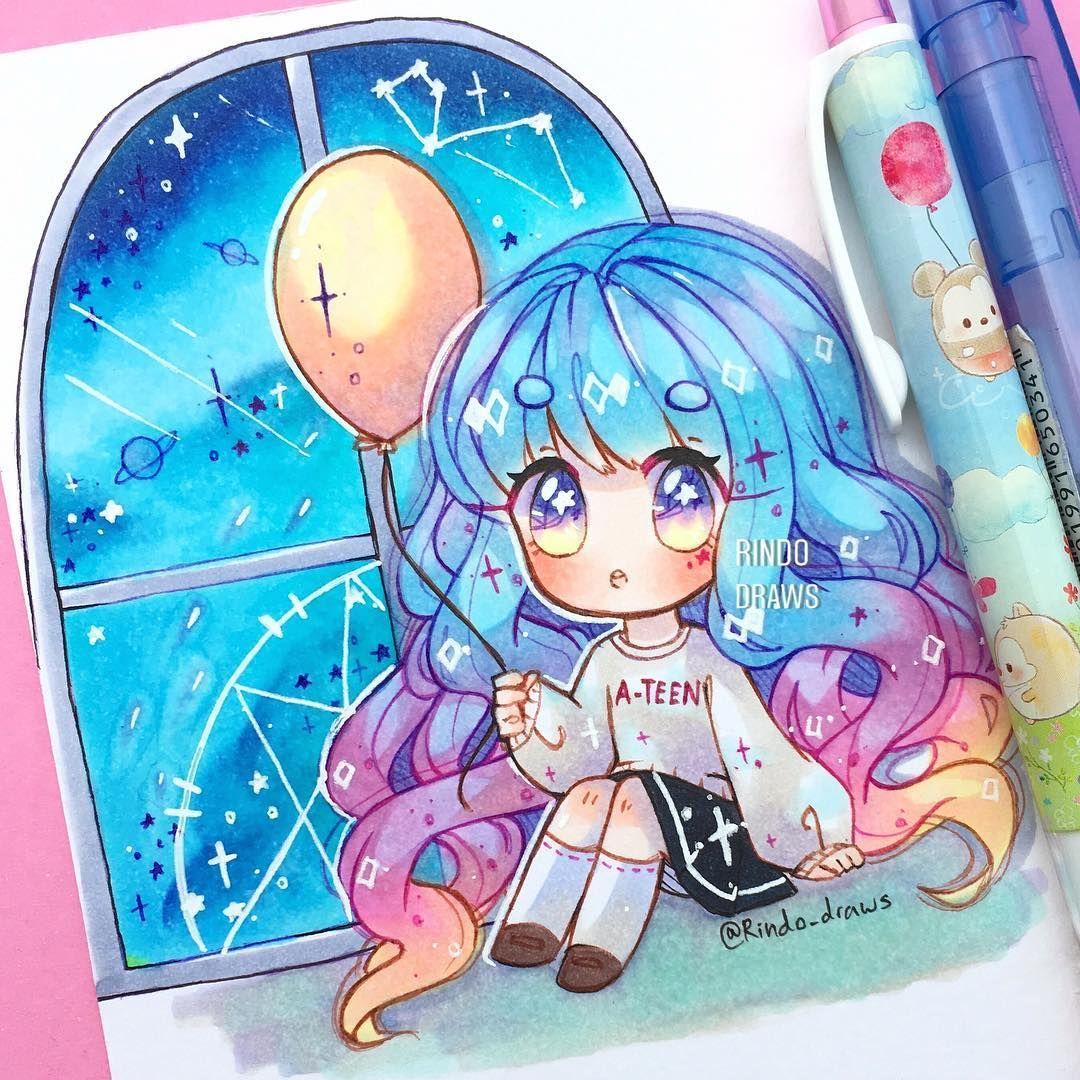 Chibi art on instagram random blue blobs in a window and