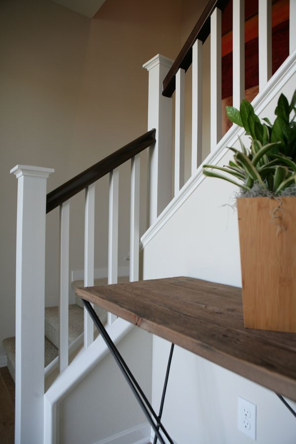(Res UPGRADED STAIR SYSTEM   We Showcase An Upgraded Paintgrade Open Stair  System Featuring A Stain Grade Handrail And Newel Post With Contemporary  Square ...