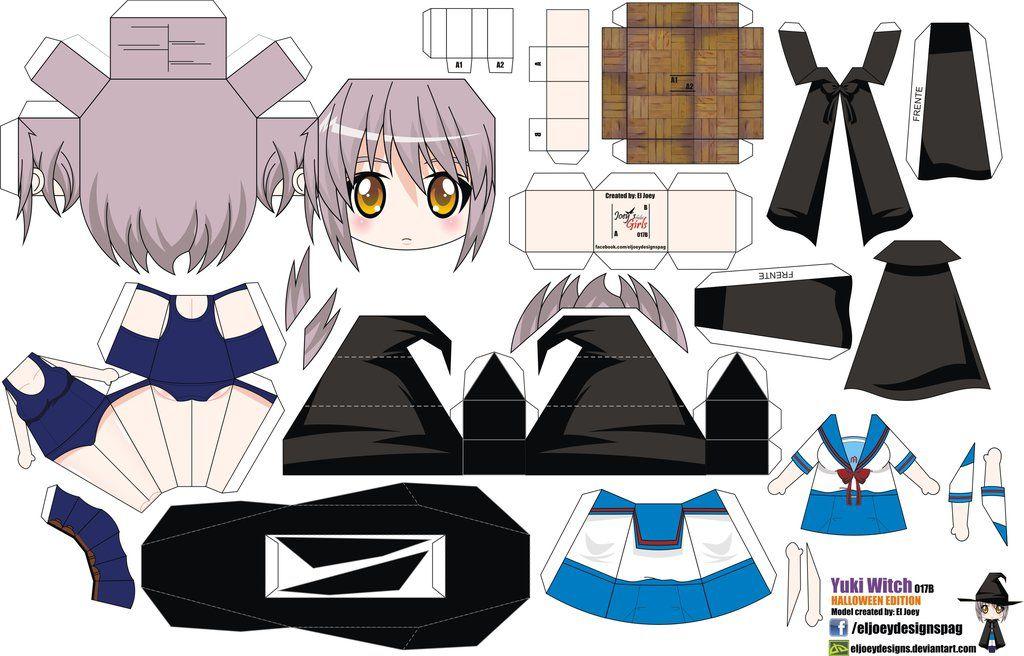 Artesanal Em Ingles ~ Yuki Nagato Witch (Joey's Chibi Girls 017B) by ELJOEYDESIGNS on DeviantArt craft paper Pinterest