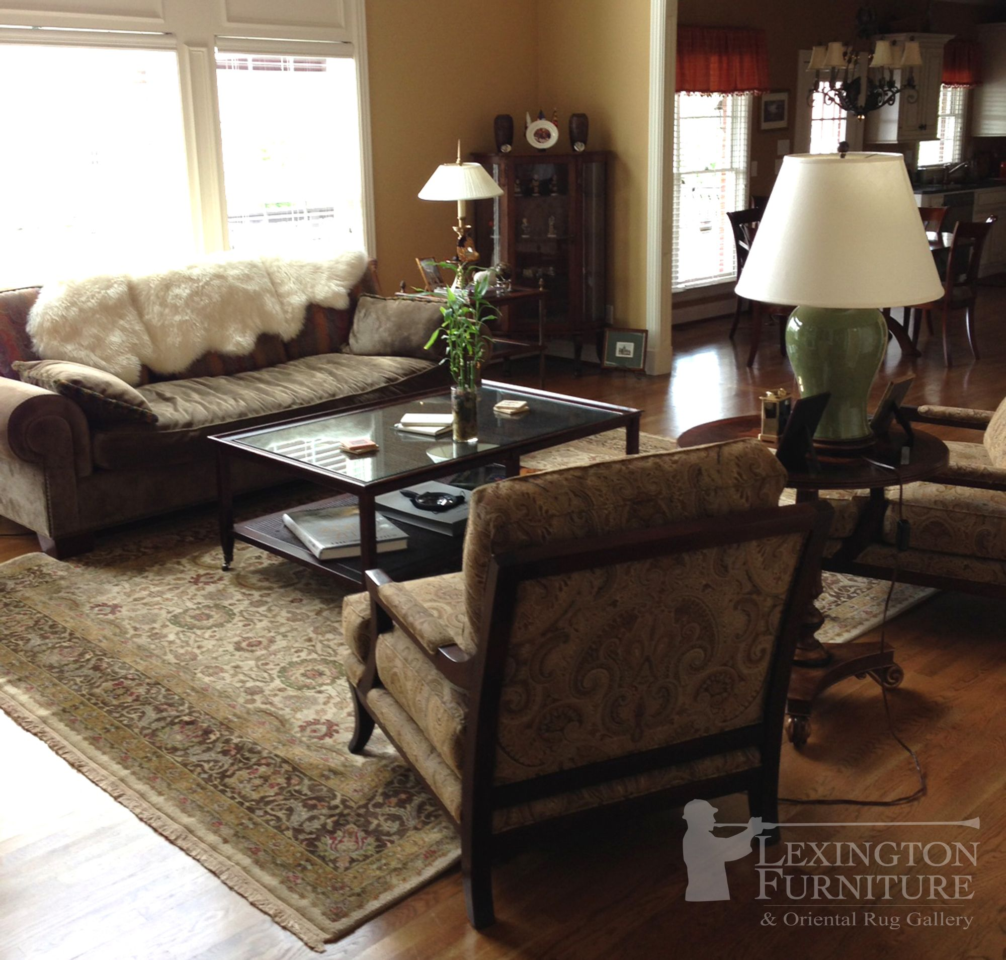 kalaty shah jahan oriental rug in living room setting earth tones