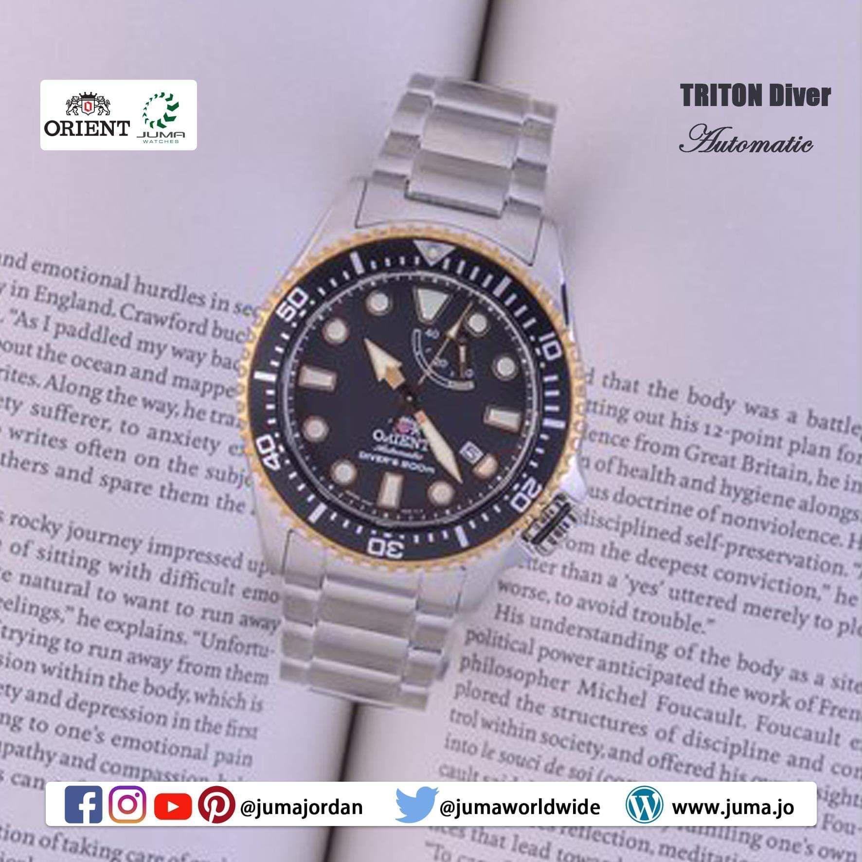 Orient Triton Mechanical Sports Watch Metal Strap 43 4mm Case 200m Ammanjordan Orient Watch Metal Straps Orient