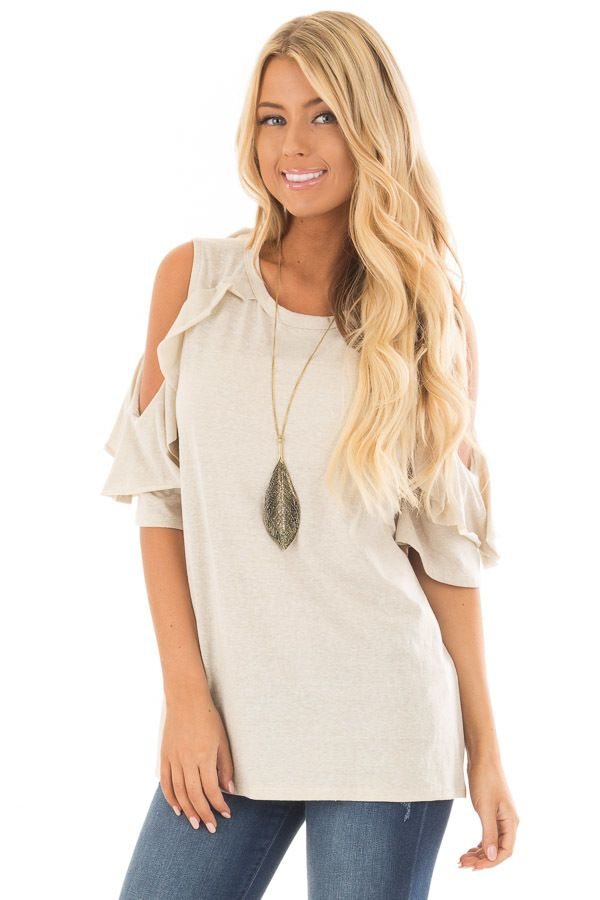 472f37c23f04f7 Lime Lush Boutique - Sand Ruffled Cold Shoulder Short Sleeve Top
