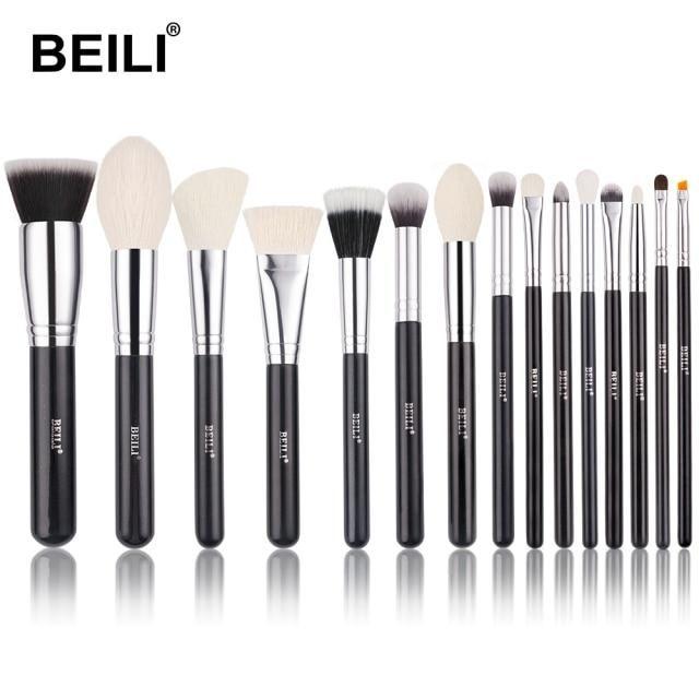 Professionelles schwarzes Make-up Ziegenhaarbürsten-Set – 15YANG / China