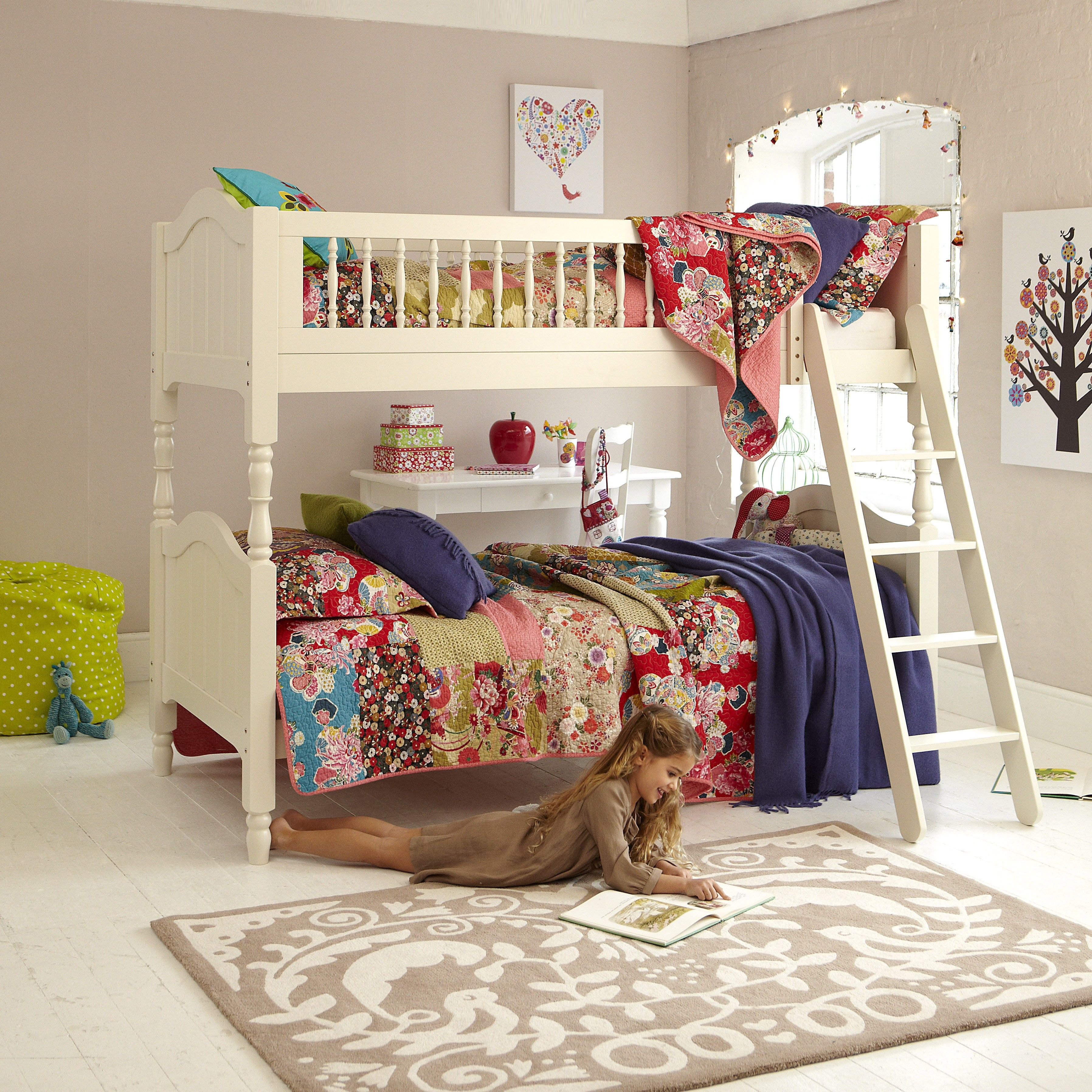 Off White Wooden Aspace Bunks Splits Into 2 Separate Beds Also The Lovely Bedding Bunk Beds