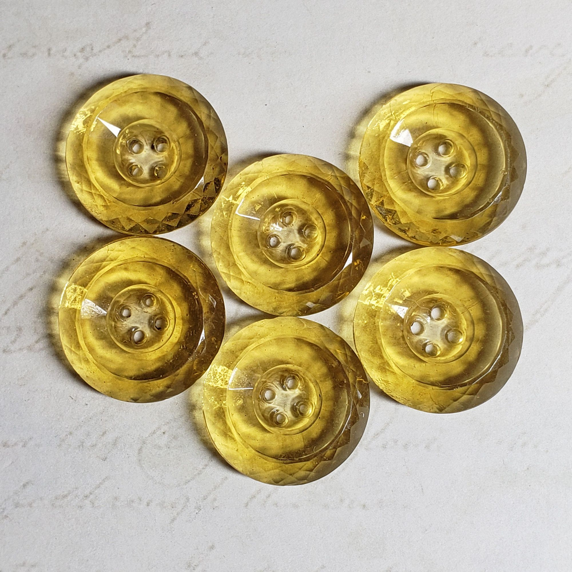 """Set of 6 Vintage 7//16/"""" Lemon Yellow  Wreath Glass Buttons~1920/'s ~new//old stock"""