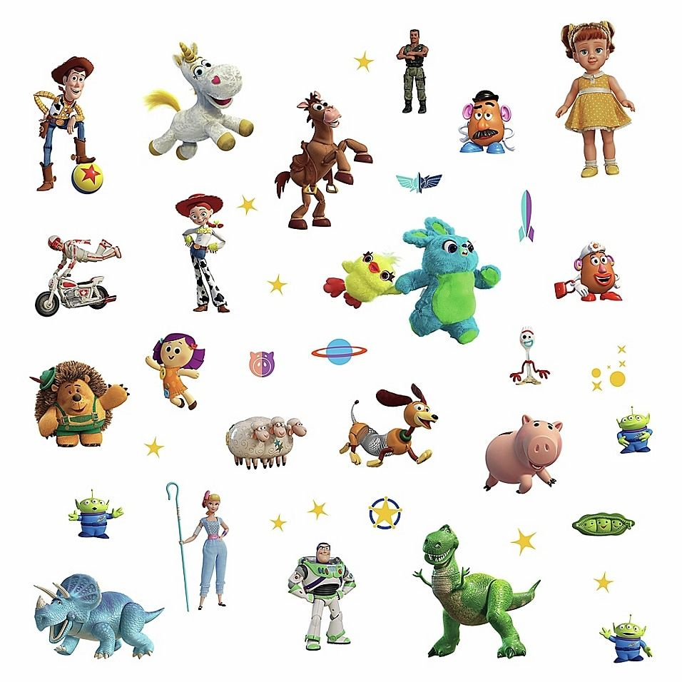 Roommates Toy Story 4 38 Piece Peel Stick Medium Wall Decal Set Bed Bath Beyond Wall Decals Toy Story Baby Media Wall