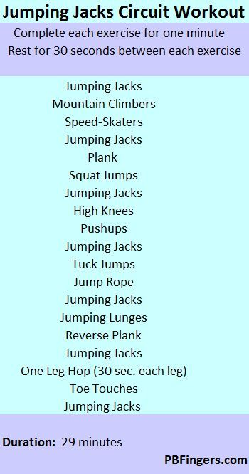 Jumping Jacks Circuit Workout- so going to try this if I have to miss the gym!.