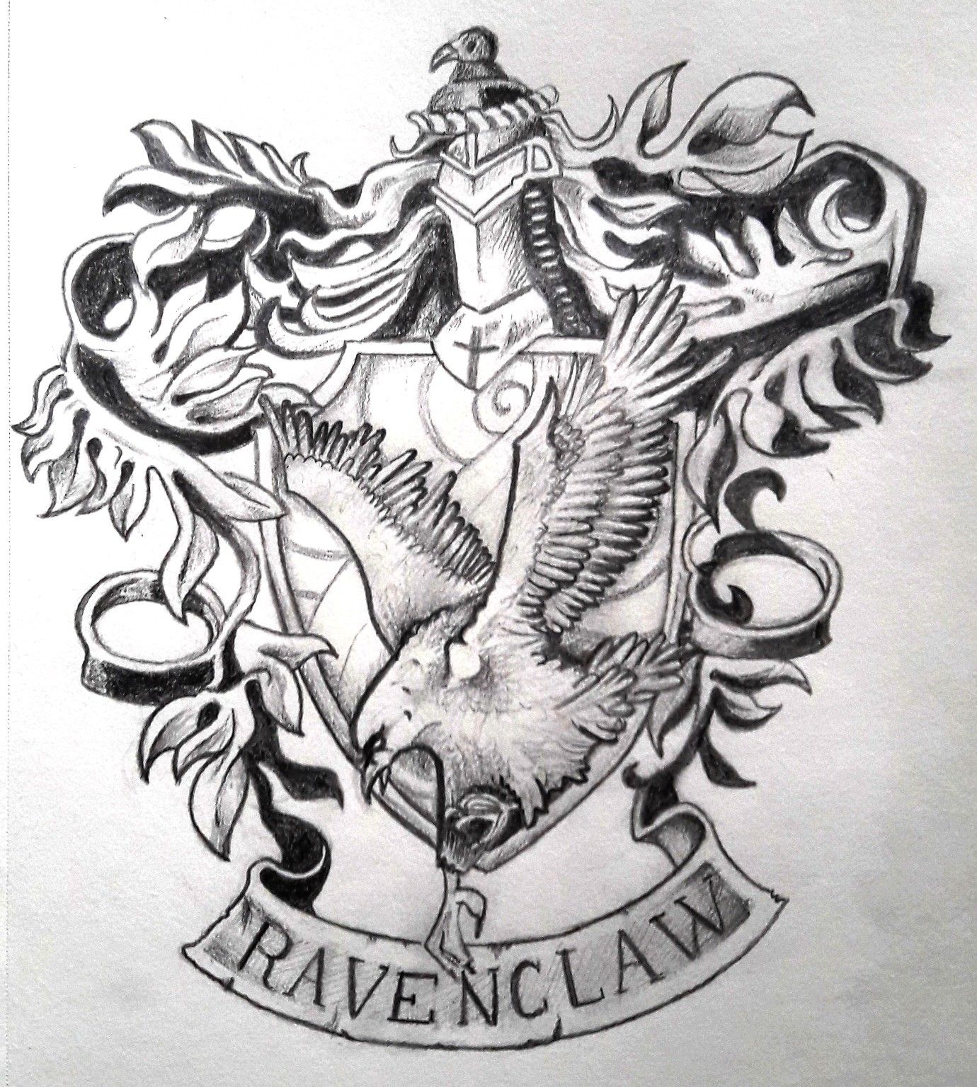 Pencil Drawing Of The Ravenclaw House Emblem Based On This Pin Fr