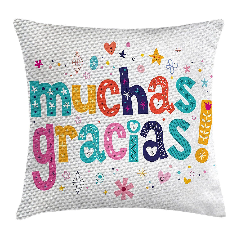 Pillowcase In Spanish Mexican Decor Throw Pillow Cushion Coverambesonne Spanish Thank