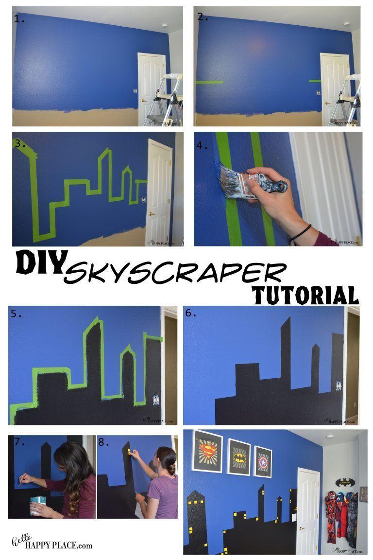 Dipinti Murali Per Camerette super hero bedroom diy painted skyscrapers tutorial – hello